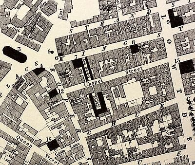 1830s Fine 19th Century Map of Whitehaven Streets New Houses Buildings Harbour
