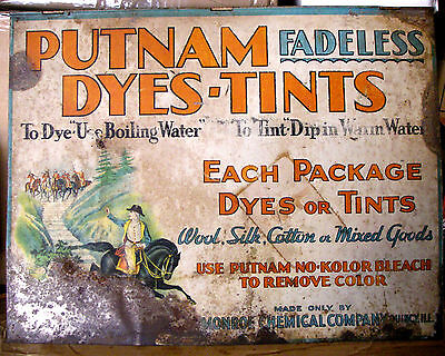 Vintage circa 1930's Putnam Fadeless Dyes and Tints Tin Sign Store Display