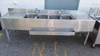 Eagle Group B7C-4, 7Ft 4-Compartment Under Bar Sink with 2 Drainboards, NSF