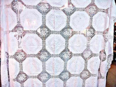 Edwardian Draw Work Linen and Filet Lace Tablecloth  96 x 66