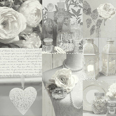 WOW! Shabby Chic Charlotte Grey Heart Love Feature Wallpaper 665202 Arthouse