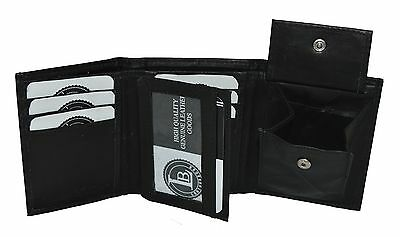 Boys Slim Compact Flap Id and Coin Pocket Trifold Wallet (Black)