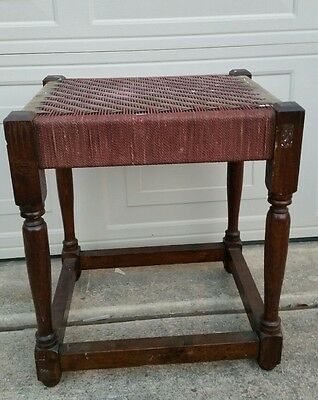 Antique English Wooden String~ Woven Stool