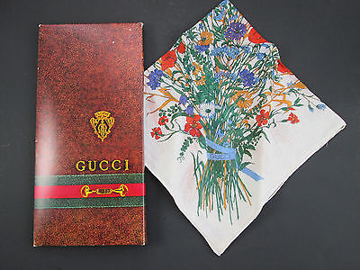 New Vintage GUCCI Scarf Pocket Square Cotton Floral Wheat Bouquet Handkerchief