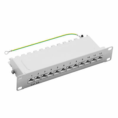 "ProfiPatch Patchpanel Cat.6A 500MHz 12-Port RJ45 geschirmt 10"" 1HE grau 10GB"