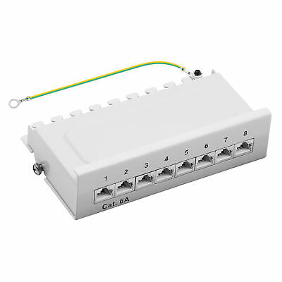 Patchpanel Cat.6A 8-Port 1HE RJ45 geschirmt Desktop Aufputz grau 10GB ProfiPatch