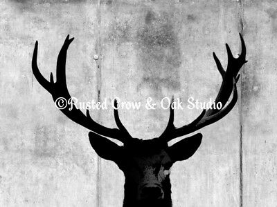 Industrial Deer Animal Red Gray Warehouse Loft Home Decor Matted Picture A313