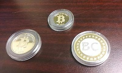 Physical Bitcoin Gold Plated (Lot of 3)