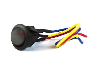 """Red LED Mini Round Rocker Switch w/ 6"""" Lead Wire SPST Black Toggle On Off"""