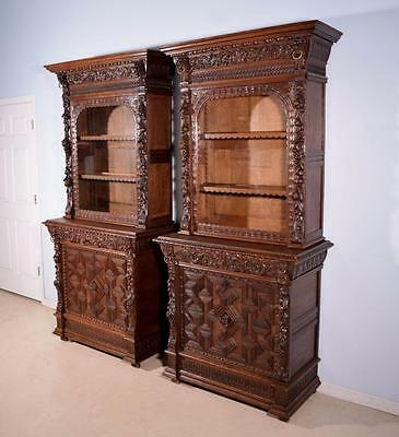 *Pair of Antique French Renaissance Revival Display Cabinets/Bookcases in Oak
