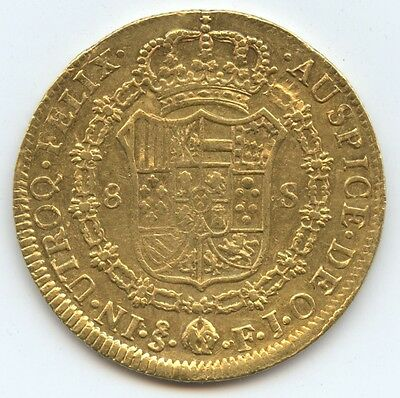 Chile 1815 8 Gold Escudos (#917) Nice Lustrous AU. Few Obv. Scrs. Carefully Chec