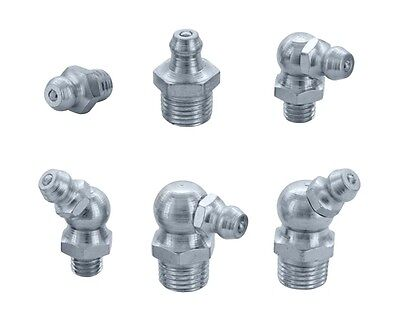 "GREASE NIPPLES, M6, M8, M10, 1/4"" unf & 1/8"" bsp, STRAIGHT, 45 & 90 DEGREES"