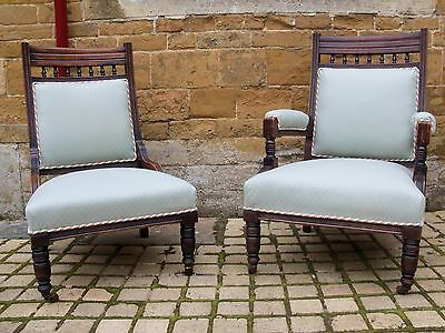 Pair of Edwardian Lady & Gents chairs circa 1910