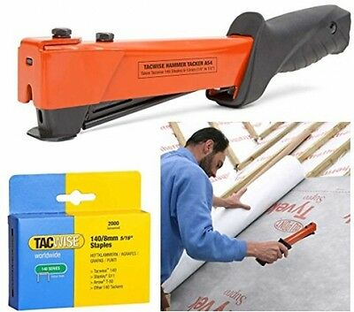 Tacwise Heavy Duty Type 140 12mm Hammer Tacker Roofing Felt Stapler Kit With