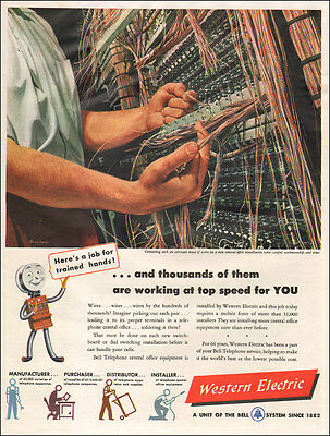 1948 vintage AD WESTERN ELECTRIC  Art Telephone Switchboard Installation 030917