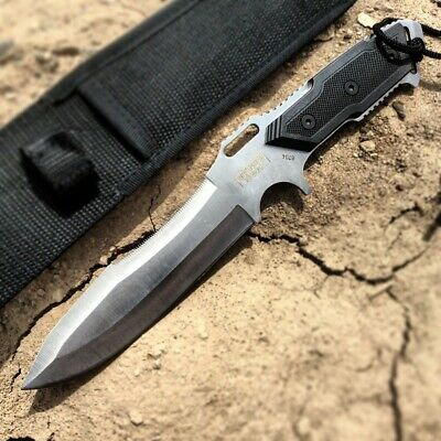 "12"" Full Tang Silver Combat Ready Hunting Knife with Sheath"
