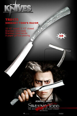 "10"" Sweeney Todd Razor Blade Folding Knife Collectible Fanatasy"
