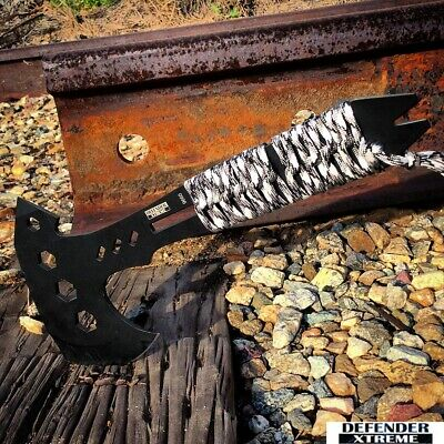 "10.5"" DefenderXtreme Hunting Survival Tactical Full Tang Axe Rench Handle"