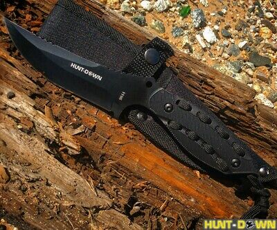 "Hunt-Down 8"" Full Tang Hunting Knife with Black Paracord wrap Handle & Sheath"
