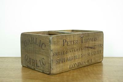 Vintage Wooden Herb Crate Trug Industrial Planter L8 Garlic London