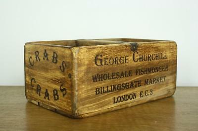 Vintage Wooden Fish Crate Trug Industrial Planter L11 Crabs London