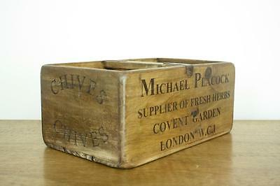 Vintage Wooden Herb Crate Trug Industrial Planter L13 Chives London