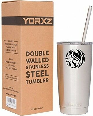 YORXZ Stainless Steel Double-Wall Vacuum Tumbler With Sliding Lid And Straw (20
