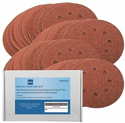 40 Bond Abrasives 125mm Assorted Sanding Discs For Bosch PEX 220/300 Random