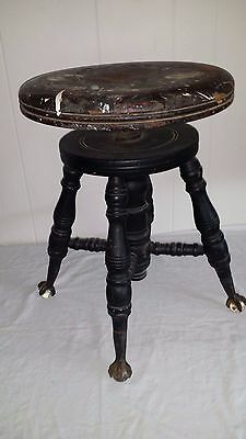 Antique Piano Stool with ball and claw feet
