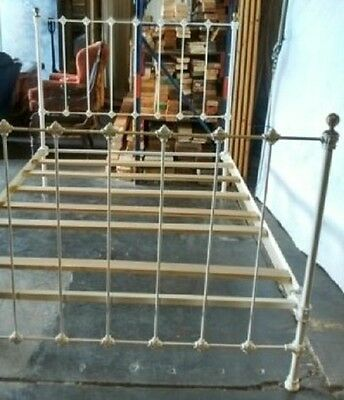 Antique White & Brass Wrought Iron Metal Bed Frame Full size Shabby Chic Vintage