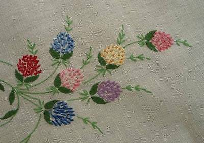 Vintage Linen Table Runner Embroidered Thistle Flowers Pink Blue Lace Edge 45""
