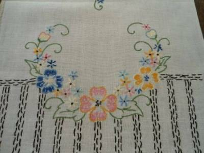 Vintage Linen Table Runner Hand Embroidered Blue Yellow Flowers & Columns 42""