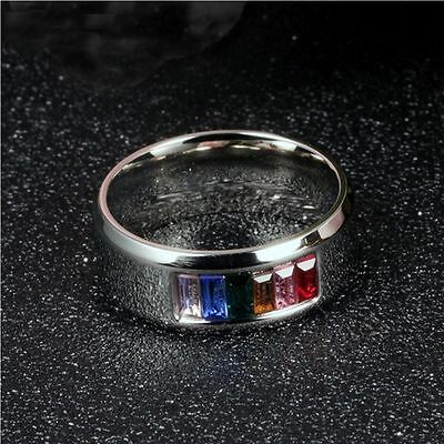 Zirconia High Quality Gift Rainbow Rings Fashion Wedding Ring Stainless Steel