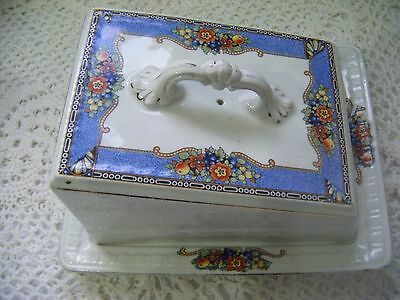 ANTIQUE LARGE FLORAL BUTTER DISH, Porcelain / China - ART DECO 1930s - '1272'