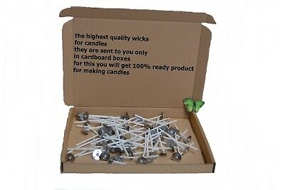 4cmx10/20/50/100 High Quality Pre Waxed Wicks With Sustainers For Candle Making