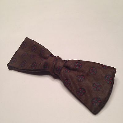 1950s Vintage Brown Medaliion Printed Mens Clip-On Now Tie