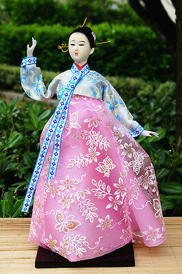 Ancient Korea Girl Figurine Silk Kimono Dress Beautiful Handmade Collectible-26