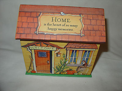 "Hallmark House shaped recipe Box w/ cards new""Home is the heart of so any..."