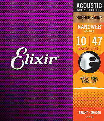 Elixir 16002 Phosphor Bronze Nanoweb acoustic guitar strings, Ex Lt .010-.047
