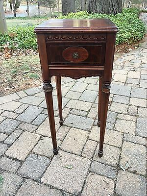 Antique French Country Dark Oak Side Cabinet Nightstand End Table cottage decor