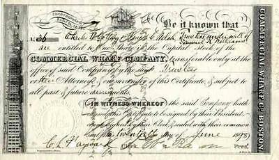 1873 Commercial Wharf Stock Certificate