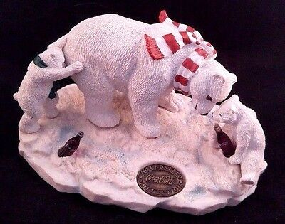 1996 Coca Cola Heritage Collection Figurine - Polar Bear with Cubs Family Party
