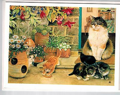 4 Lesley Anne Ivory Cat Agneatha  And Kittens Doorstep Blank Greeting Note Cards