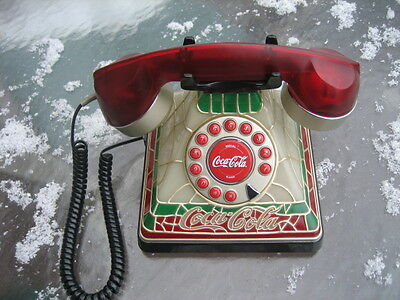 """Coca-Cola  """"2001""""  Tiffany Stained Glass Look Telephone Retired Super Clean!"""