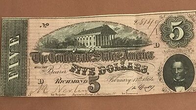 1864$5 US Confederate States of America Choice VF! Very Nice! Currency!