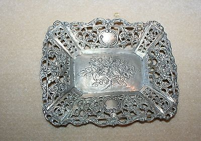 Antique German Repousse 800 Silver Openwork Pierced Flower Dish Bowl
