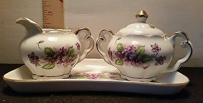 Vintage Lefteris Exclusives Creamer Pitcher & Sugar Bowl with Tray Hand Painted
