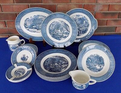 20 Piece Vintage Royal Currier Ives Blue China Dinnerware Set 1950's
