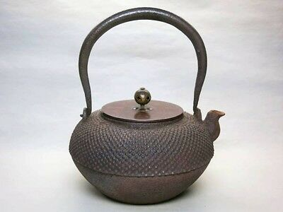 Japanese Antique KANJI old Iron Tea Kettle Tetsubin teapot Chagama 112
