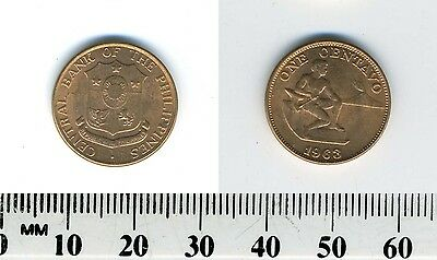Philippines 1963 - 1 Centavo Bronze Coin - Male seated beside hammer and anvil
